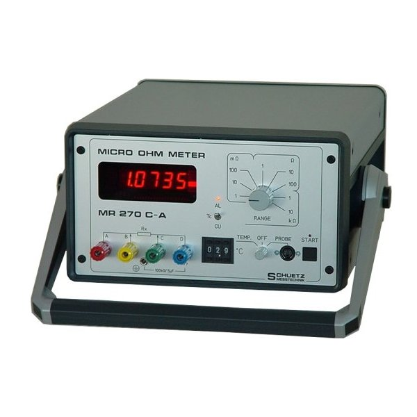 <h5>MR 270 C-A</h5><strong>Especially for the cable industry.</strong><br/><br/>This MICRO-OHMMETER is specifically designed for measurement of electrical resistance in the cable industry and measuring inductive loads (transformers, motors)...