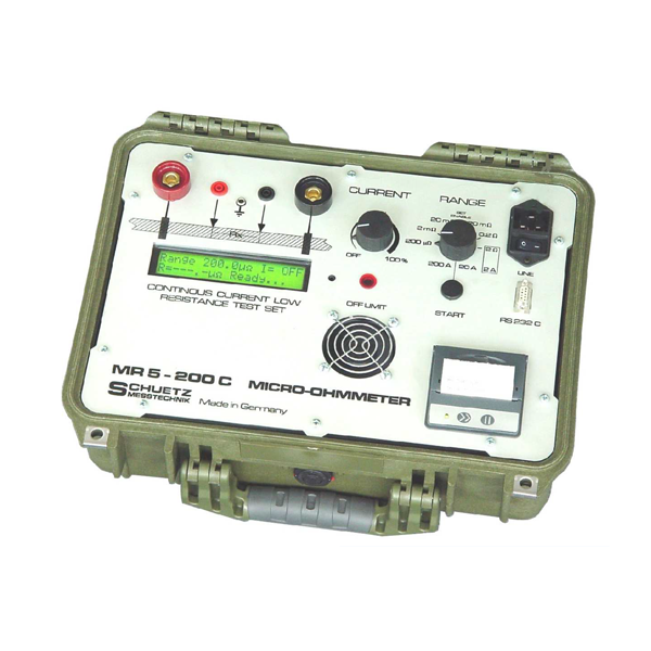 <h5>MR 5-200 C/P</h5><strong>Continuous measuring current up to 200 A infinitely adjustable</strong><br/><br/>With the micro-ohmmeter MR5-200C, extremely low-impedance resistors can be measured. At connectors of power lines, high current contacts, grounding tapes, on-board networks for electric drives, wind power plants, etc. available.