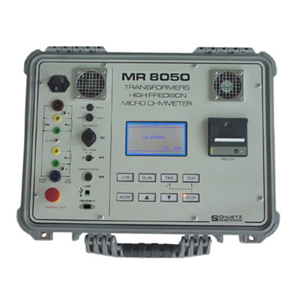 <h5>MR 8050</h5><strong>for highly inductive Test Objects up to 800 MVA</strong><br/><br/>With the MR 8050 resistances of highly inductive windings of transformers, motors and reactors can be measured. (range 100µΩ with 0.01µΩ resolution up to 6 kΩ).