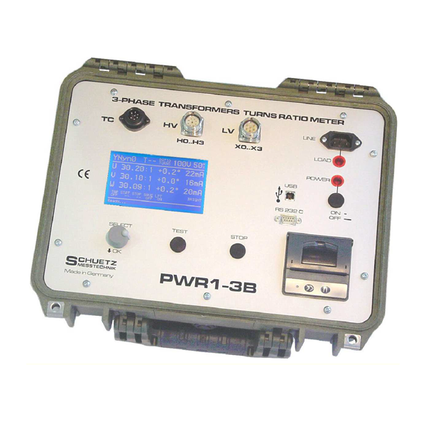 <h5>PWR 1-3B</h5><strong>for Power- and Distribution- Transformers</strong><br/><br/>The RATIOMETER PWR1-3B is constructed to measure the transformation ratio, phase error and magnetizing current of power- and distribution- transformers for all three-phases simultaneously.