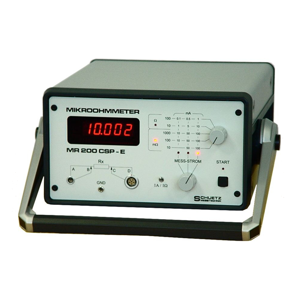 <h5>MR 200 CSP-E</h5><strong>For testing of safety mass, wiring and material connections</strong><br/><br/>High accurate digital resistance meter with selectable of different very low measuring currents according to special regulations in the mobile, airplane and launcher industry.