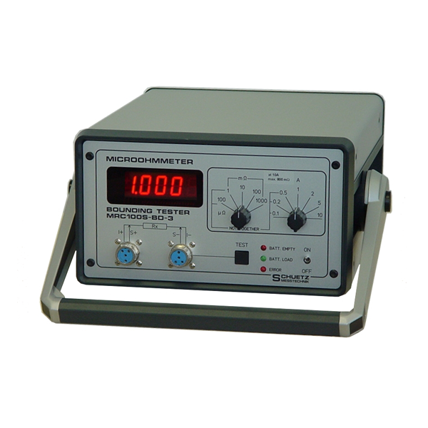 <h5>MRC 100S-BD-3</h5><strong>For mass connections and material material measurements</strong><br/><br/>This portable digital ohmmeter is powered by a built-in battery. For example mass connection with different measuring currents (up to 10A) in various sections of airplanes can be checked.