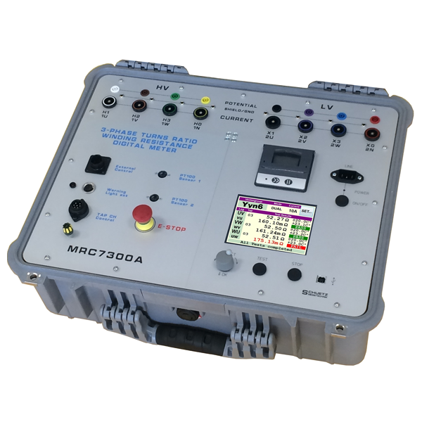<h5>MRC7300A</h5><strong>Three Phase Transformer Measuring Bridge</strong><br/><br/>With the precision measuring bridge MRC7300A it is possible to safely determine winding resistances, transformation ratios and phase angles of distribution transformers up to 100MVA and more.